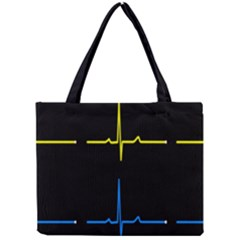 Heart Monitor Screens Pulse Trace Motion Black Blue Yellow Waves Mini Tote Bag by Mariart