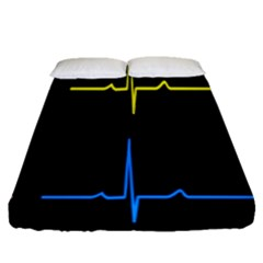 Heart Monitor Screens Pulse Trace Motion Black Blue Yellow Waves Fitted Sheet (queen Size) by Mariart