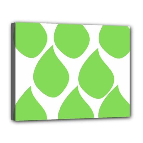Green Water Rain Canvas 14  X 11  by Mariart