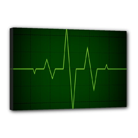 Heart Rate Green Line Light Healty Canvas 18  X 12  by Mariart