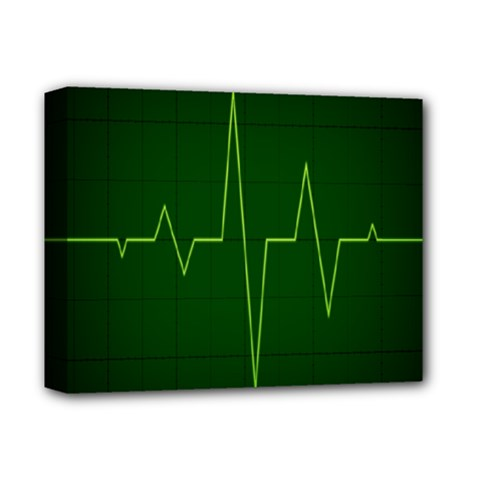 Heart Rate Green Line Light Healty Deluxe Canvas 14  X 11  by Mariart