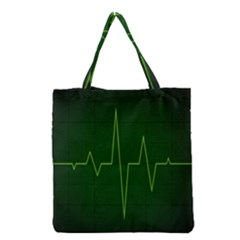 Heart Rate Green Line Light Healty Grocery Tote Bag by Mariart