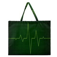 Heart Rate Green Line Light Healty Zipper Large Tote Bag by Mariart