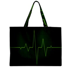 Heart Rate Green Line Light Healty Medium Tote Bag by Mariart