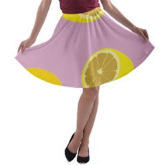 Fruit Lemons Orange Purple A-line Skater Skirt by Mariart