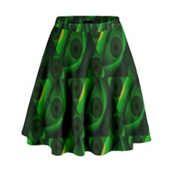 Green Eye Line Triangle Poljka High Waist Skirt by Mariart