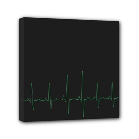 Heart Rate Line Green Black Wave Chevron Waves Mini Canvas 6  X 6  by Mariart