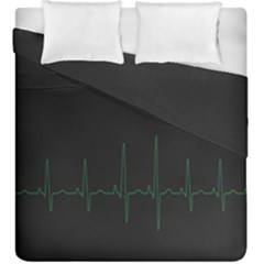 Heart Rate Line Green Black Wave Chevron Waves Duvet Cover Double Side (king Size) by Mariart