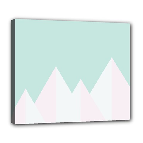Montain Blue Snow Chevron Wave Pink Deluxe Canvas 24  X 20   by Mariart