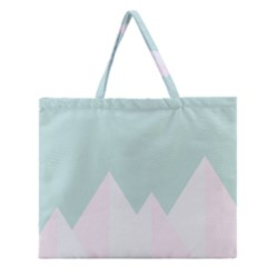 Montain Blue Snow Chevron Wave Pink Zipper Large Tote Bag by Mariart