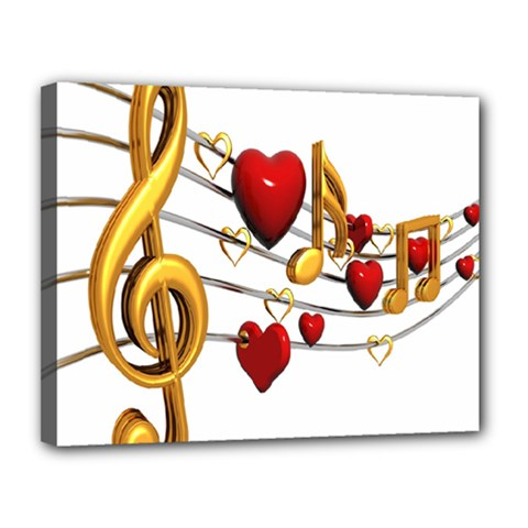Music Notes Heart Beat Canvas 14  X 11  by Mariart