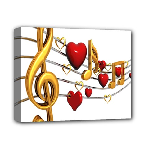 Music Notes Heart Beat Deluxe Canvas 14  X 11  by Mariart