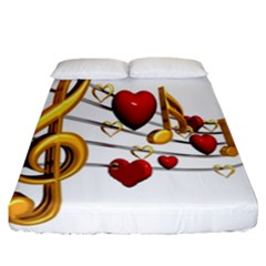 Music Notes Heart Beat Fitted Sheet (california King Size) by Mariart