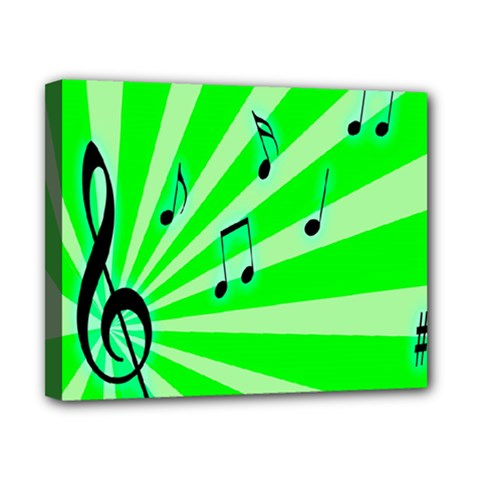 Music Notes Light Line Green Canvas 10  X 8  by Mariart