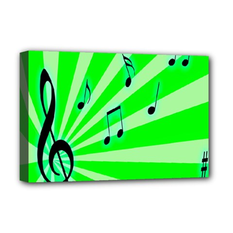 Music Notes Light Line Green Deluxe Canvas 18  X 12   by Mariart