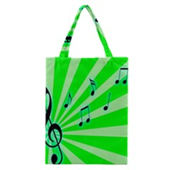 Music Notes Light Line Green Classic Tote Bag by Mariart