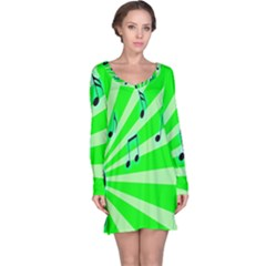Music Notes Light Line Green Long Sleeve Nightdress