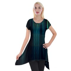 Lines Light Shadow Vertical Aurora Short Sleeve Side Drop Tunic by Mariart