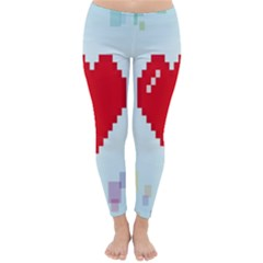 Red Heart Love Plaid Red Blue Classic Winter Leggings by Mariart