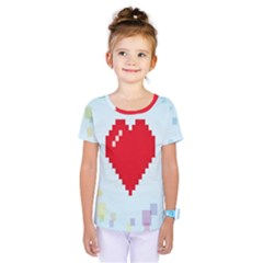 Red Heart Love Plaid Red Blue Kids  One Piece Tee