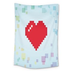 Red Heart Love Plaid Red Blue Large Tapestry by Mariart