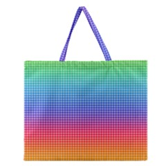 Plaid Rainbow Retina Green Purple Red Yellow Zipper Large Tote Bag by Mariart