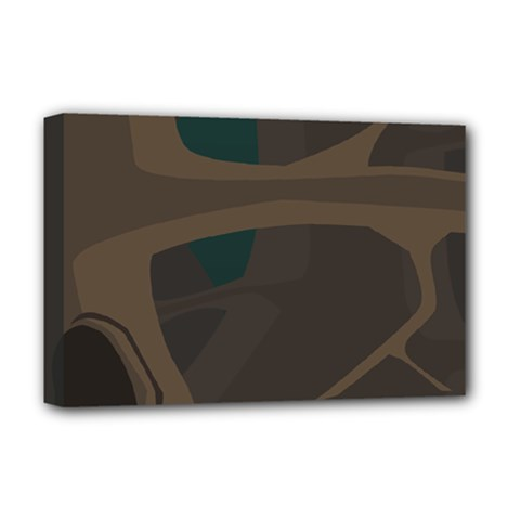 Tree Jungle Brown Green Deluxe Canvas 18  X 12   by Mariart