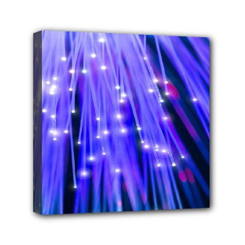 Neon Light Line Vertical Blue Mini Canvas 6  X 6  by Mariart