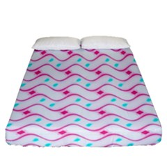 Squiggle Red Blue Milk Glass Waves Chevron Wave Pink Fitted Sheet (queen Size) by Mariart