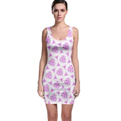 Sweet Doodle Pattern Pink Sleeveless Bodycon Dress