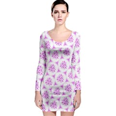 Sweet Doodle Pattern Pink Long Sleeve Bodycon Dress