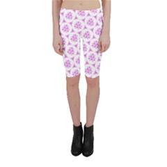 Sweet Doodle Pattern Pink Cropped Leggings