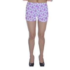 Sweet Doodle Pattern Pink Skinny Shorts