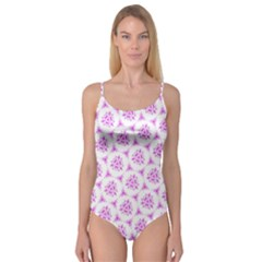 Sweet Doodle Pattern Pink Camisole Leotard