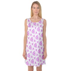 Sweet Doodle Pattern Pink Sleeveless Satin Nightdress