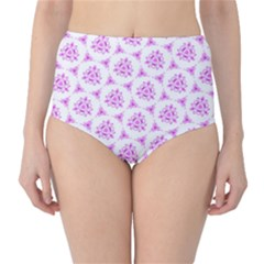 Sweet Doodle Pattern Pink High Waist Bikini Bottoms