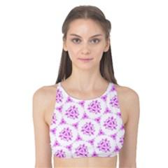 Sweet Doodle Pattern Pink Tank Bikini Top