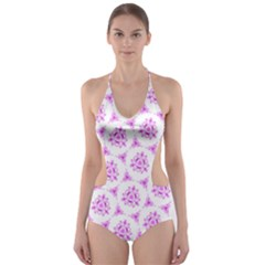 Sweet Doodle Pattern Pink Cut Out One Piece Swimsuit