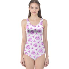 Sweet Doodle Pattern Pink One Piece Swimsuit