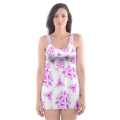 Sweet Doodle Pattern Pink Skater Dress Swimsuit