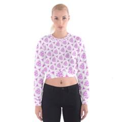 Sweet Doodle Pattern Pink Cropped Sweatshirt