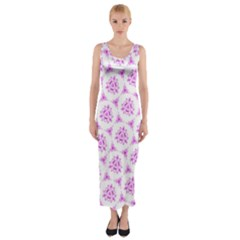 Sweet Doodle Pattern Pink Fitted Maxi Dress
