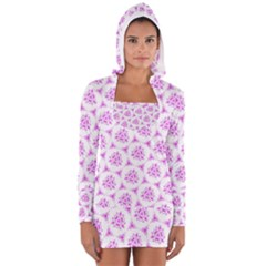 Sweet Doodle Pattern Pink Women s Long Sleeve Hooded T Shirt