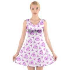 Sweet Doodle Pattern Pink V Neck Sleeveless Skater Dress
