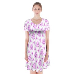 Sweet Doodle Pattern Pink Short Sleeve V Neck Flare Dress