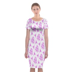 Sweet Doodle Pattern Pink Classic Short Sleeve Midi Dress