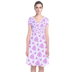 Sweet Doodle Pattern Pink Short Sleeve Front Wrap Dress
