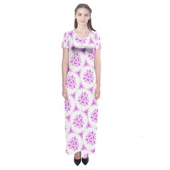 Sweet Doodle Pattern Pink Short Sleeve Maxi Dress