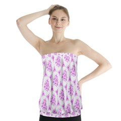 Sweet Doodle Pattern Pink Strapless Top