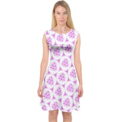 Sweet Doodle Pattern Pink Capsleeve Midi Dress